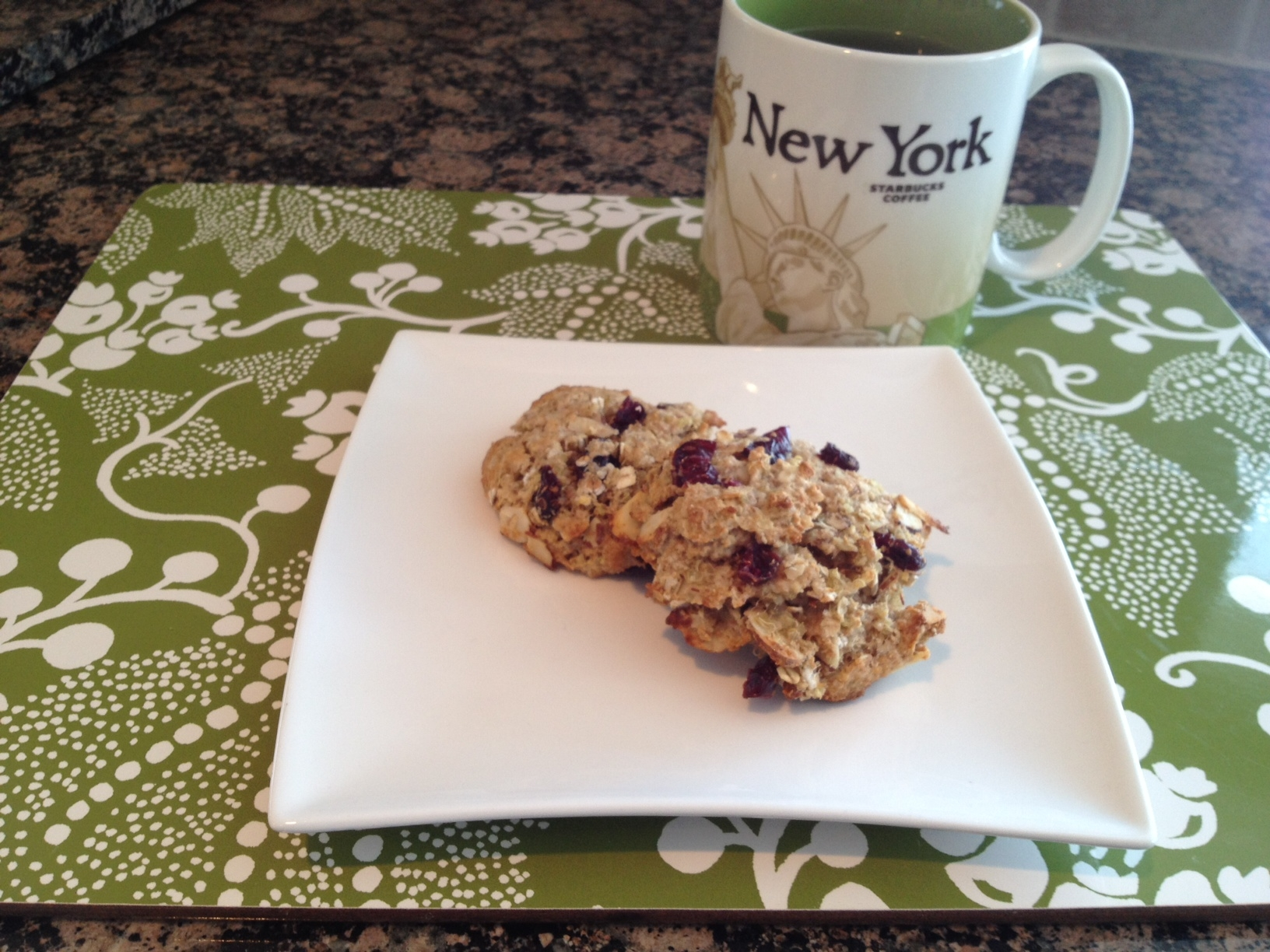 Almond-Cranberry Quinoa Cookies and tea....ok, I only actually had one ...
