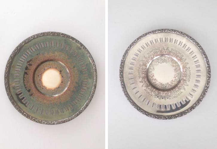 Silver plate before and after