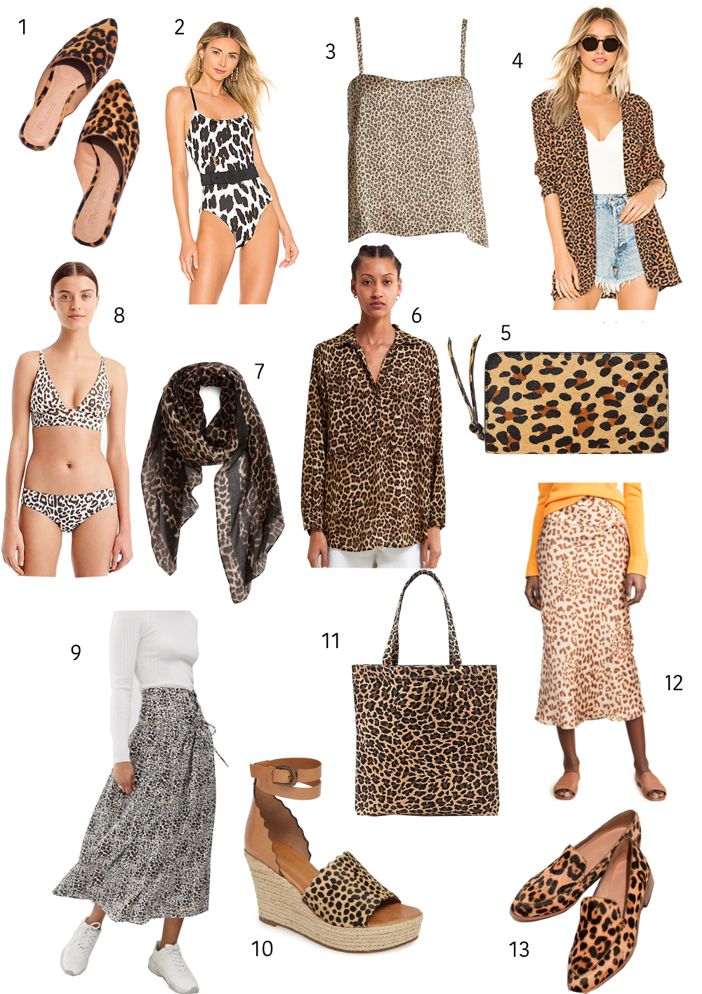 9805aa56ec8b Leopard Mules | 2. Belted One Piece Swimsuit | 3. Strappy Camisole | 4.  Leopard Print Blazer | 5. Leather Card Wallet | 6. Animal Print Shirt | 7.